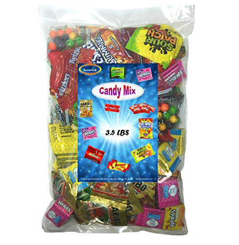 Assorted Wrapped Candy 3.5 lb Party Gift Bag Bulk Candies Twizzlers Licorice, Haribo Gummy Bears, Gobstoppers, Starbursts, Skittles, and (Pirate Theme Snacks)