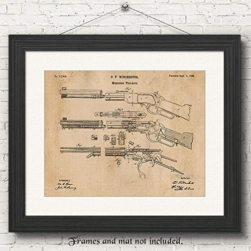 Original Winchester Lever Action Rifle Poster Gun Patent Print, Set of 1 (11x14) Unframed Photo, Great Wall Art Decor Gifts Under 15 for Home, Office, Man Cave, Shop, Cowboys, NRA Fan & Movies Fan from Stars by Nature