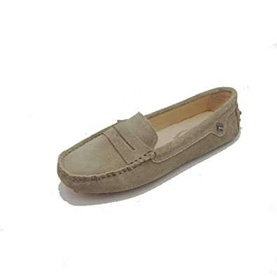 b344fa62fede4 Goeao Women Comfortable Suede Leather Flats Driving Bow Moccasins Slip-on  Loafers Khaki