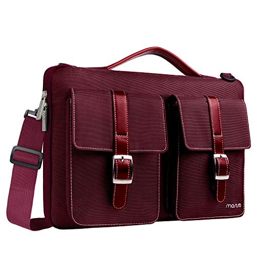 MOSISO 360° Protective Laptop Shoulder Bag Compatible 13-13.3 Inch MacBook Pro, MacBook Air with Organizer Pockets, Shockproof Spill Resistant Polyester Briefcase Handbag Carrying Sleeve, Wine Red (Red Macbook Pro Sleeve)