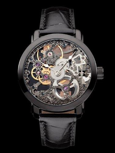 M. Johansson NikalaLBB3 - Reloj de caballero mecánico de cuerda manual, esqueleto completo, correa de piel color negro, caja de acero inoxidable bañado en ...