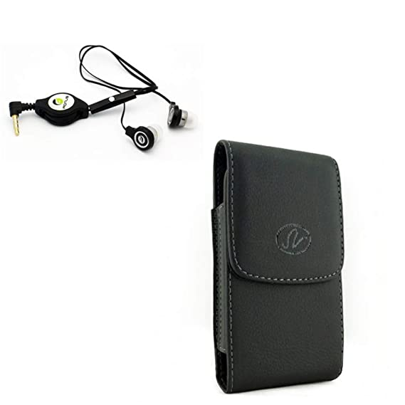 Amazon com: Black Leather Case w Retractable Headset Hands-Free