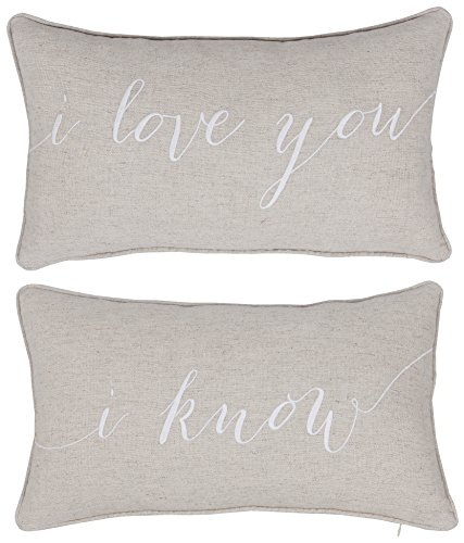 DecorHouzz I Love u I know Set of 2 Pcs Embroidered Pillow C