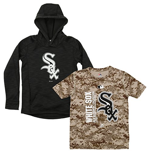 Outerstuff MLB Youth Primary Icon Hoodie and Tee Combo, Chicago White Sox Medium (10-12)