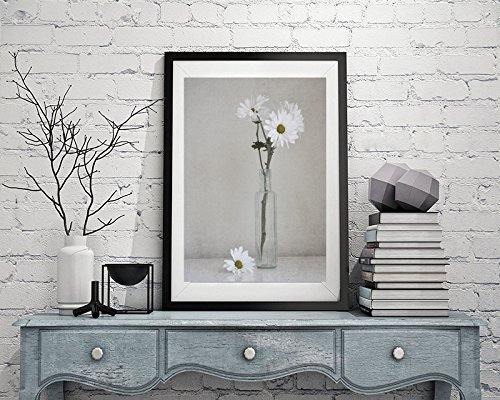 Country Rustic Shabby Chic Wall Art, White Flower Photography, Daisy Art Print, Neutral Bathroom Wall Art, Powder Room Decor Picture, Still Life Art from 5x7 to 18x24