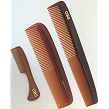 GBS Grooming Comb Combo - Tortoise Coarse/Fine Dressing Comb, Tortoise Coarse/Fine Pocket Comb, and Tortoise Beard and Moustache Comb
