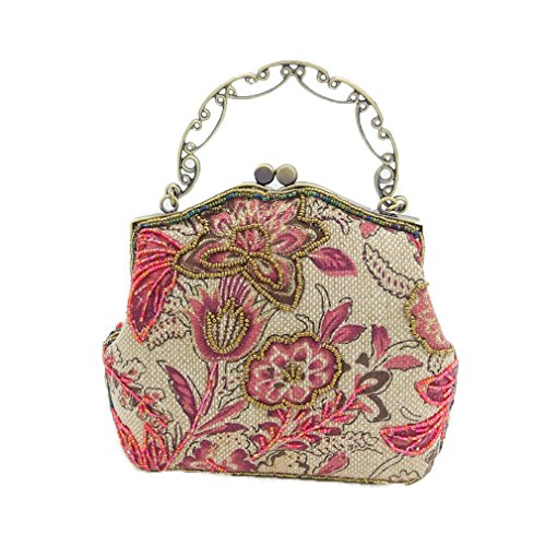 Chinese Style Women Red Floral Embroidery Beaded Purse Handbag Clutch Red