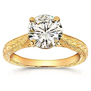 Antique Style Moissanite Engagement Ring with Diamond 1 1/2 CTW 14k Yellow Gold