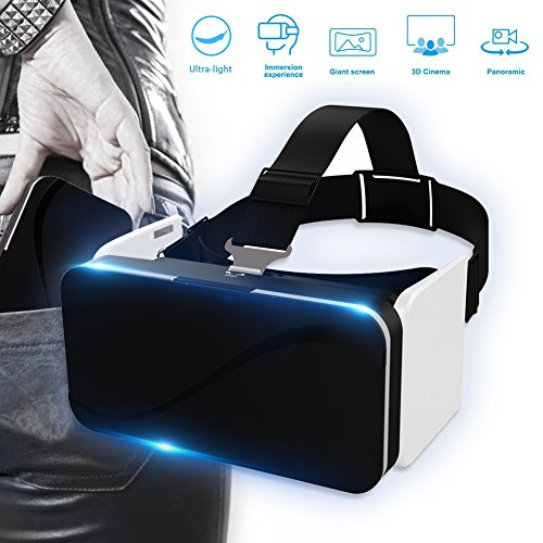 BOKIN B-K0002 Foldable Cell Phone VR Headset and VR Goggles, Pocket 3D Virtual Reality Glasses for iPhone and Android with Adjustable Eye Care System ()
