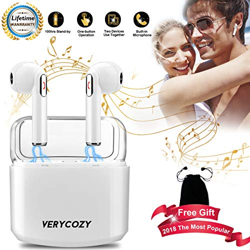 Wireless Earbuds,True Wireless Bluetooth Headphones Earphones HD Sound Mini in-Ear Earbuds Sweatproof Bluetooth Earpiece Built-in Mic Long Battery with Charging Case for Sport by Vovice