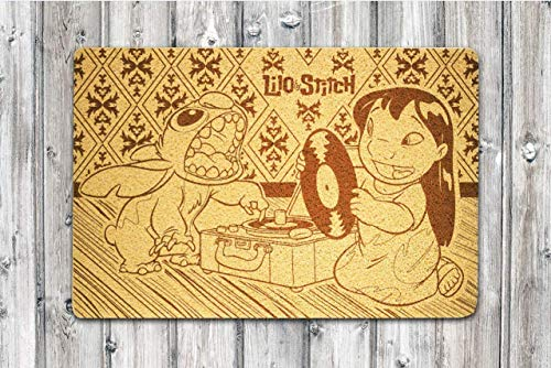 Lilo & Stitch Doormat Disney Movie Doormat Lilo & Stitch Door Mat Disney Door Mat Indoor Outdoor Front Door Welcome Doormat Gift for Boys and Girls Him and Her and Children]()