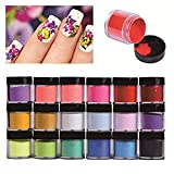 HitHopKing 18 Colors Acrylic Powder Set for Nail Art 3D DIY Tips decoration