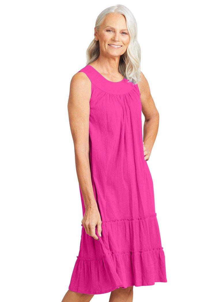 AmeriMark Women's Crinkle Gauze Sundress 5X (32W-34W) / Fuchsia