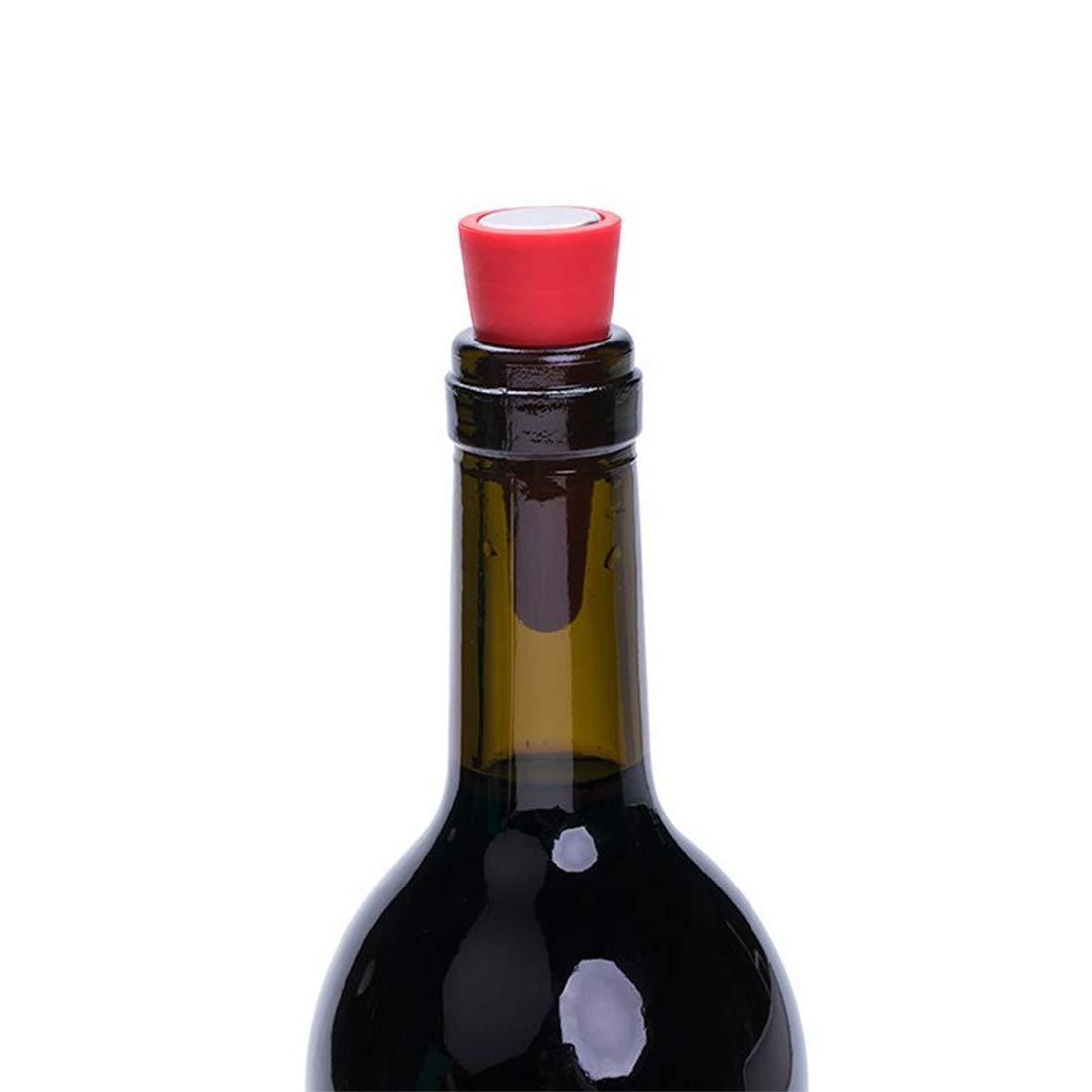 Carry stone Bouchons de vin cr/éatifs Bouchons de Bouteilles de Boisson en Silicone r/éutilisables Bouchons de Bouteilles /à vis filet/é Rouge 1PCS