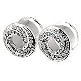 PHD LTD Stainless Steel Silvery Diamond Spiral Flared Ear Tunnels Plugs Stretcher Expander Kit 2g