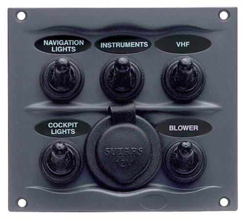 Marinco 900-5WPS 5-Way Switch Panel with Socket