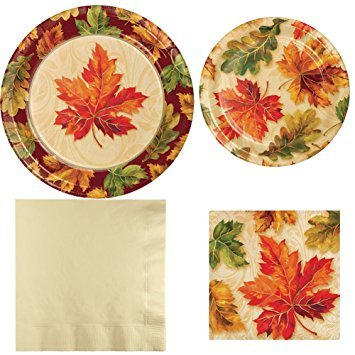 Creative Converting Fall Flourish Paper Plate and Napkin Bundle