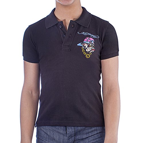 Ed Hardy Kids Bulldog Polo Shirt - Black - X-Large