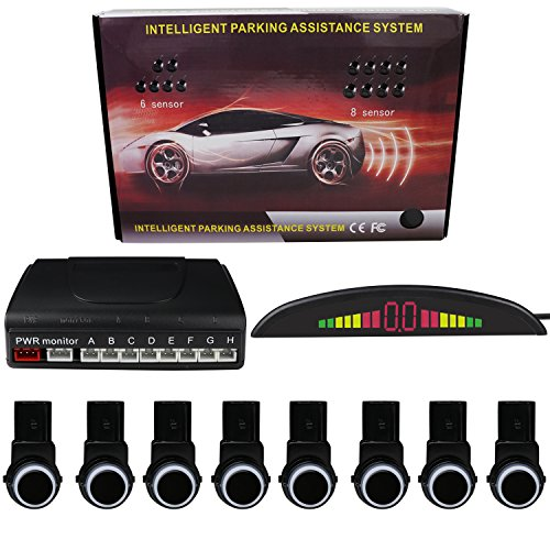 KIPTOP Car Reverse Backup Radar System with LED Display - 8 Parking Sensors with Premium Quality - Rear Buzzer Radar System Kit Sound Alarm for all Cars - Waterproof & Easy install - Black