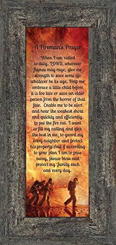 Frames of Mind A Fireman's Prayer, Fireman Gifts, Fireman Décor, 6x12 7361BW