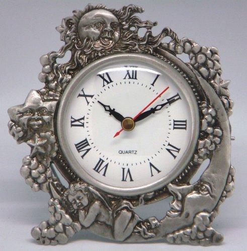 Cherub Table Clock - Quartz Clock - Sun, Moon, & Stars w/Sleeping Cherub (Item # 202)