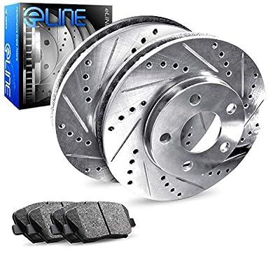 For 2005-2010 Scion tC Rear Drill/Slot Brake Rotors Kit + Semi-Met Brake Pads: Automotive