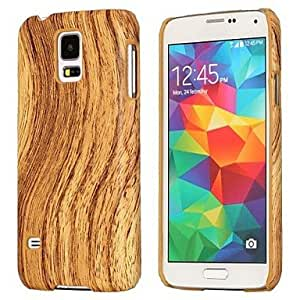 QJYB Wood Pattern Leather Coated Hard Case Cover for Samsung Galaxy S5 i9600 , Brown