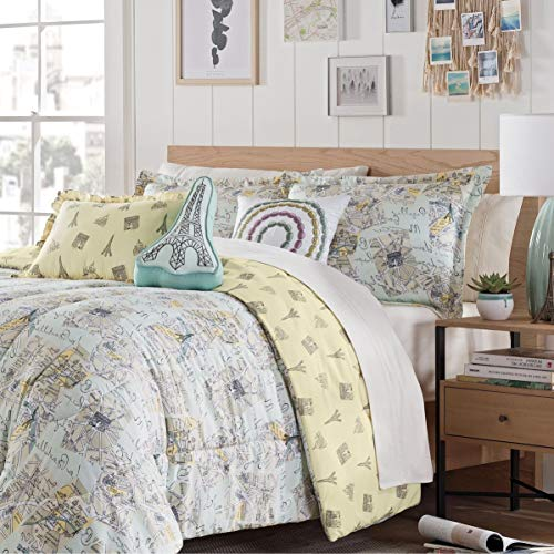 Map Kids Comforter Set Twin Size - Green, Yellow, Multi Paris Eiffel Tower Design Art Print - 2 Piece Bed Sets - Decorative Abstract Reversible Bedding, Modern Bedroom - Ultra Soft Polyester