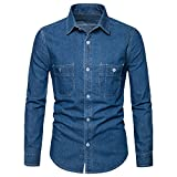 AOMO LOVE Men's Long Sleeve Denim Solid Shirt Cotton Casual Double-Pocket Shirt Blue Work Slim Fit Shirt (Light Blue, Medium)
