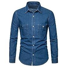 Men's Slim Fit Long-Sleeve Double-Pocket Denim Shirt