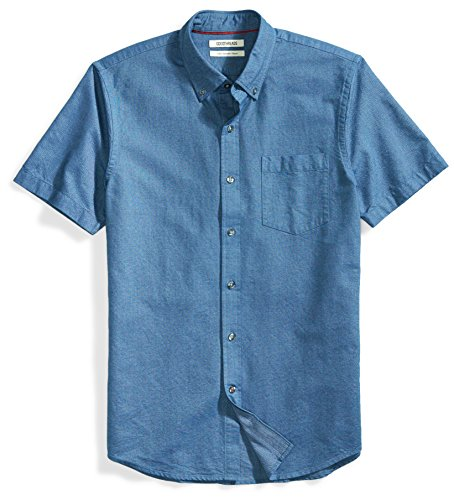 Goodthreads Men's Slim-Fit Short-Sleeve Solid Oxford Shirt with Pocket, Indigo, XX-Large