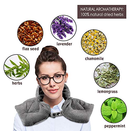Neck heating pad microwavable, Aromatherapy Hot/Cold Shoulder Wrap Soft Flannel & Button Design, Natural Herbal Filler, Dry/Moist Relieve Aches and Tension in the Neck, Back and Arthritis, 23'' x 11''
