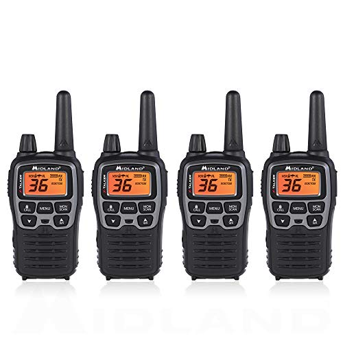 Midland T71VP3 36 Channel FRS Two-Way Radio - Up to 38 Mile Range Walkie Talkie - Black/Silver (Pack of - Corporation Cobra Adapter Electronics