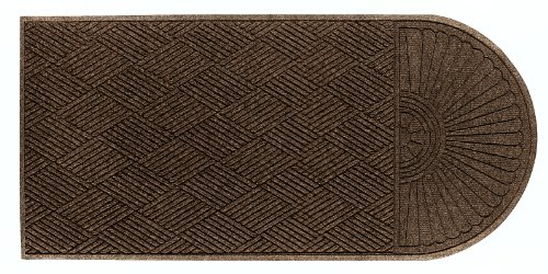 (M+A Matting 2248 Chestnut Brown PET Polyester WaterHog ECO Grand Premier Entrance Mat, Half Oval One End, 5.9' Length x 4' Width, For Indoor/Outdoor)