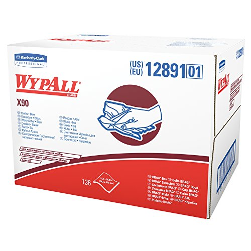 Denim Paper Cloths - Wypall X90 Extended Use Cloths (12891), Reusable Wipes BRAG BOX, Blue Denim, 1 Box / Case, 136 Sheets / Box