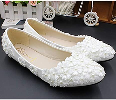 Ladies Flat Lace Wedding Dress Shoes Pearl Accessories Hand Decal