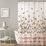 gold and pink shower curtain. Lush Decor D cor Flutter Butterfly Shower Curtain x 72 inch  Pink Amazon com Curtains Hooks Liners Bathroom