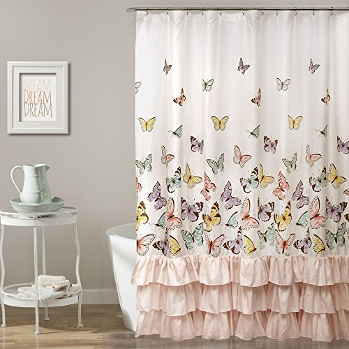 (Lush Decor Décor Flutter Butterfly Shower Curtain, 72 inch x 72 inch, Pink)