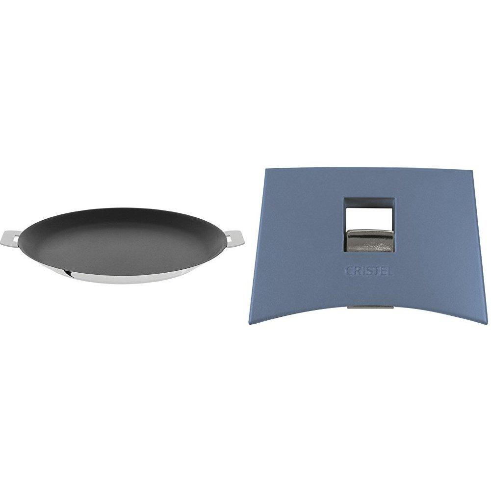 Cristel CR30QE Non-Stick Crepe Pan, Silver, 12'' with Cristel Mutine Plmabl Side Handle, Lavender