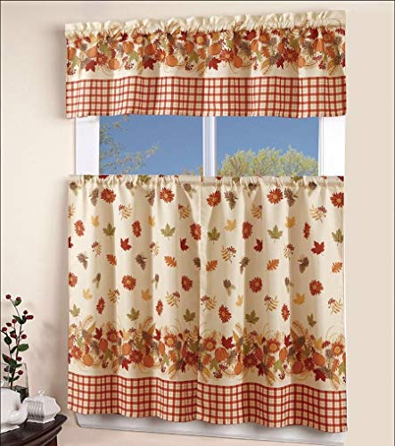 EliteHomeProducts EHP 3 Piece Printed Kitchen Curtain Set, 1 Valance & 2 Tiers (Autumn) (Curtains Fall Kitchen)