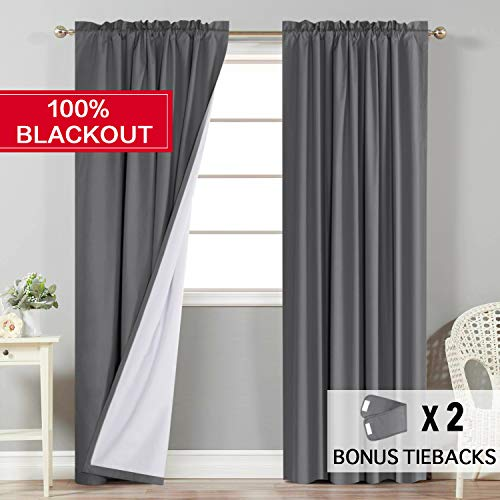 - Flamingo P 100% Blackout Grey Curtains for Bedroom Faux Cotton Thermal Insulated Curtains 96 inches Long for Living Room, Rod Pocket Window Curtains 2 Panels, 2 Bonus Tie-Backs