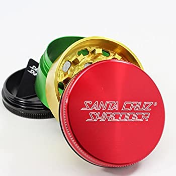 Medium Santa Cruz Shredder Rasta 4 Piece Grinder with a Cali Crusher Pollen Press