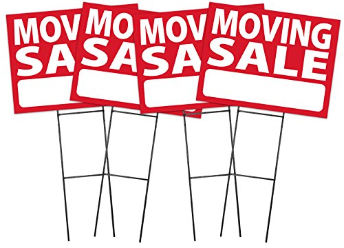 Moving Sale Sign Kit - 4 Pack (includes 4 signs and stakes)