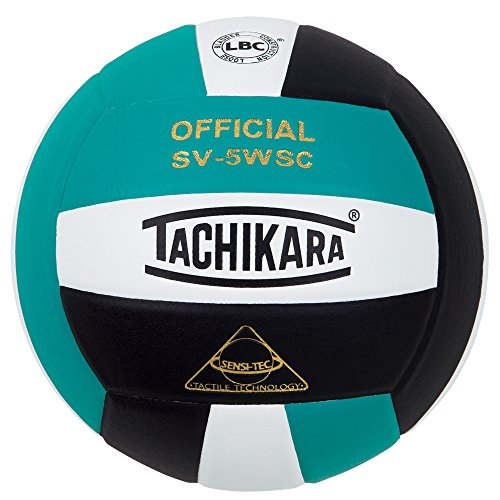 Tachikara Sensi-Tec Composite Colorful High Performance VolleyBall, Teal-White-Bk