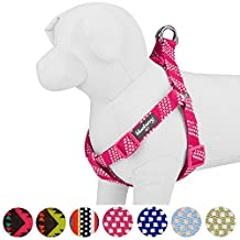 """Blueberry Pet 4 Colors Step-in Artisan Crochet Inspired Endless Squares Dog Harness, Chest Girth 20"""" - 26"""", Virtual Pink, Medium, Adjustable Harnesses for Dogs"""