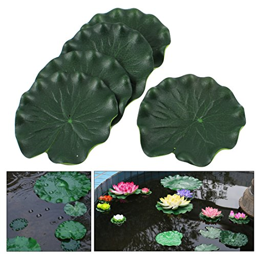 uxcell 5-Piece Foam Aquarium Floating Lotus Leaf Decor, 3.9-Inch, Green