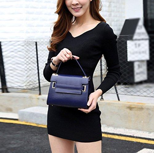 Mujer Nuevo PU color Sólido Portátil Bolso De Hombro Inclinado Solo Bolso De Hombro Bolso Blue