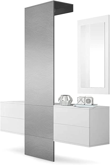 Corps en Blanc Mat//Panneau portemanteau en Marbre Graphite Vladon Vestiaire Garderobe Carlton Set 1