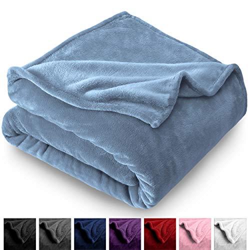 Bare Home Microplush Velvet Fleece Blanket - Twin/Twin Extra Long - Ultra-Soft - Luxurious Fuzzy Fleece Fur - Cozy Lightweight - Easy Care - All Season Premium Bed Blanket (Twin/Twin XL, Coronet Blue)