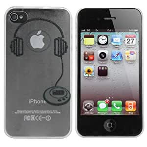 Earphone Headset Pattern Hard Back Case Cover For iPhone 4 4S